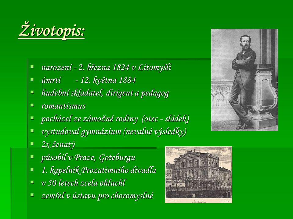 Životopis: narození - 2. března 1824 v Litomyšli