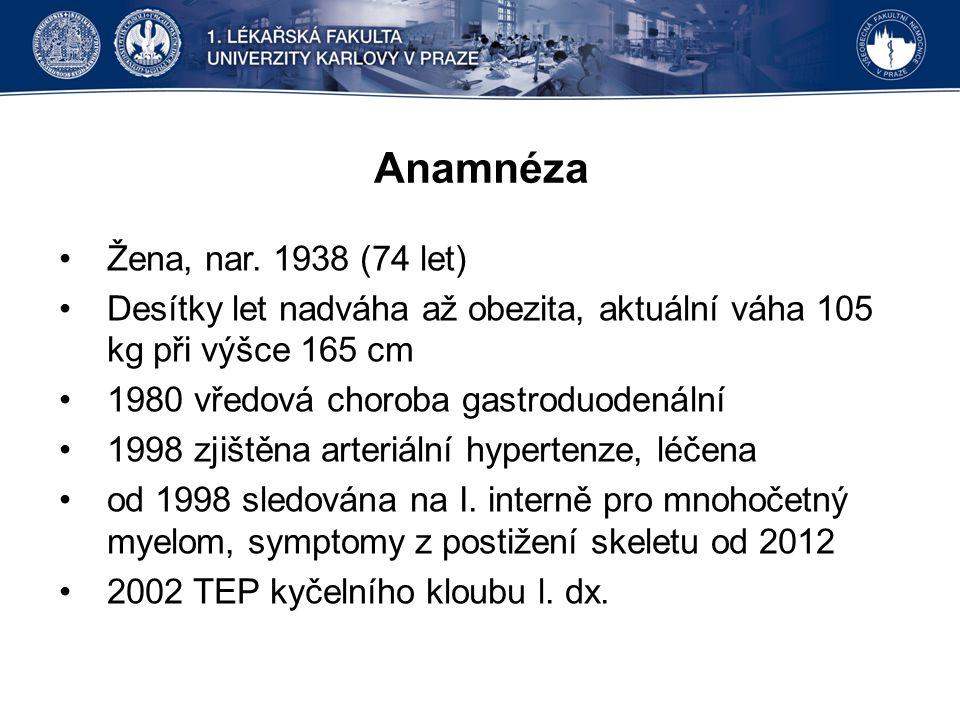 Anamnéza Žena, nar. 1938 (74 let)