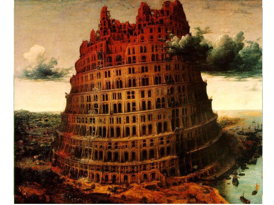 Babylónská věž 2 verze. Vídeňská ranější. Oživená postavami. Častý motiv vlámského umění 15. Století.
