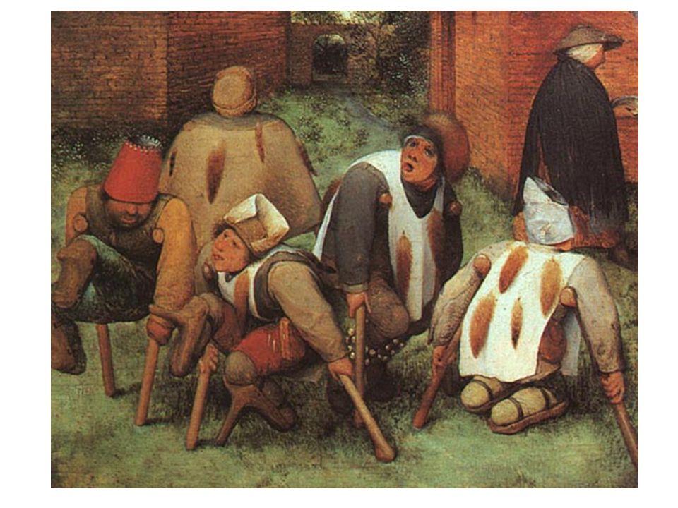 Mrzáci: 1568; v prvém plánu 5 zmrzačených žebráků, každý z nich obrácen jiným směrem; zdíní pohybu;neuspořádanost