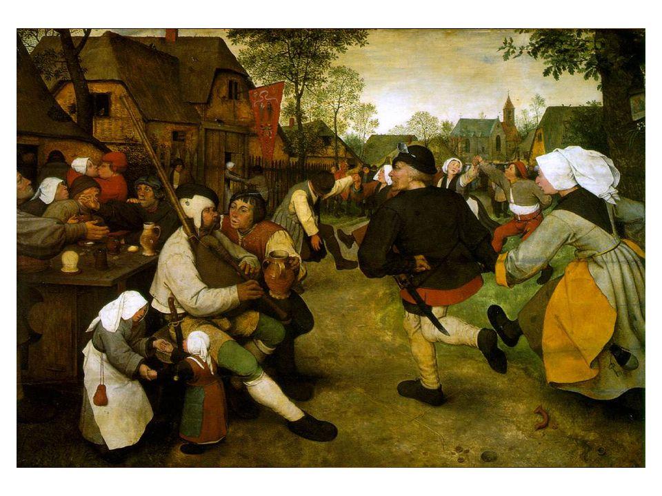 Brueghel velice rád pozoroval venkovany při jídle, pití, seznamování nebo jiných povyraženích a potom to všechno vtipně ztvárnil na plátně. Um+l výborně malovat vesničany a vesničanky, aniž by přikrášloval jejich těžkopádné tance, neohrabaná gesta, neotesané chování a zvyklosti.