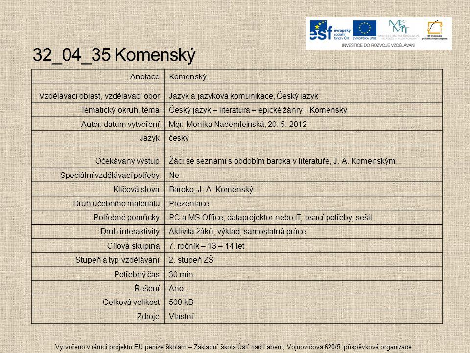 32_04_35 Komenský Anotace Komenský Vzdělávací oblast, vzdělávací obor