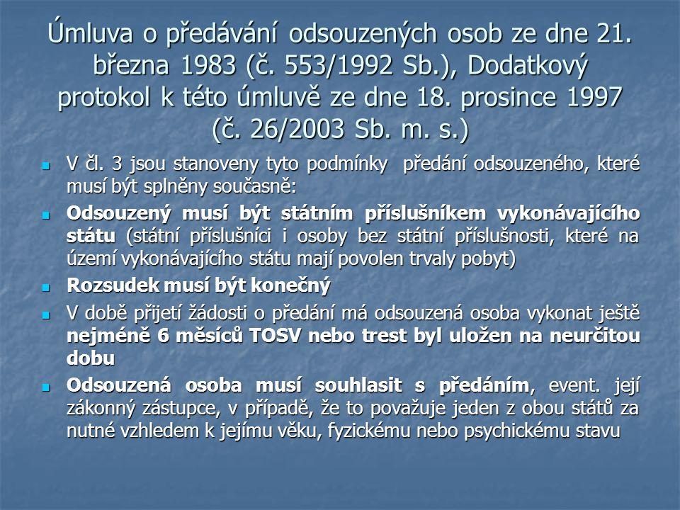 Úmluva o předávání odsouzených osob ze dne 21. března 1983 (č