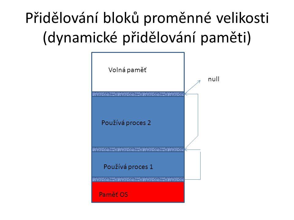 Přidělování bloků proměnné velikosti (dynamické přidělování paměti)