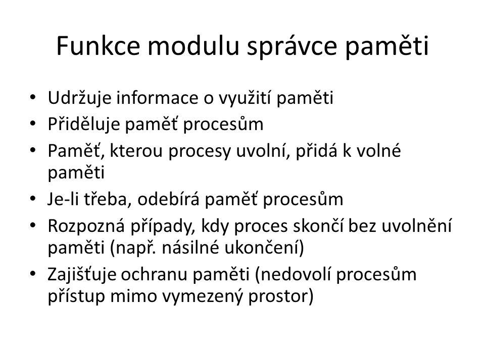 Funkce modulu správce paměti