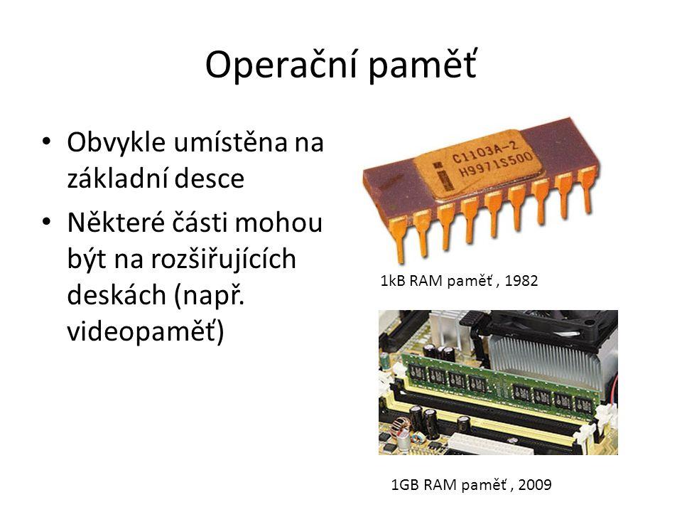 Operační paměť Obvykle umístěna na základní desce