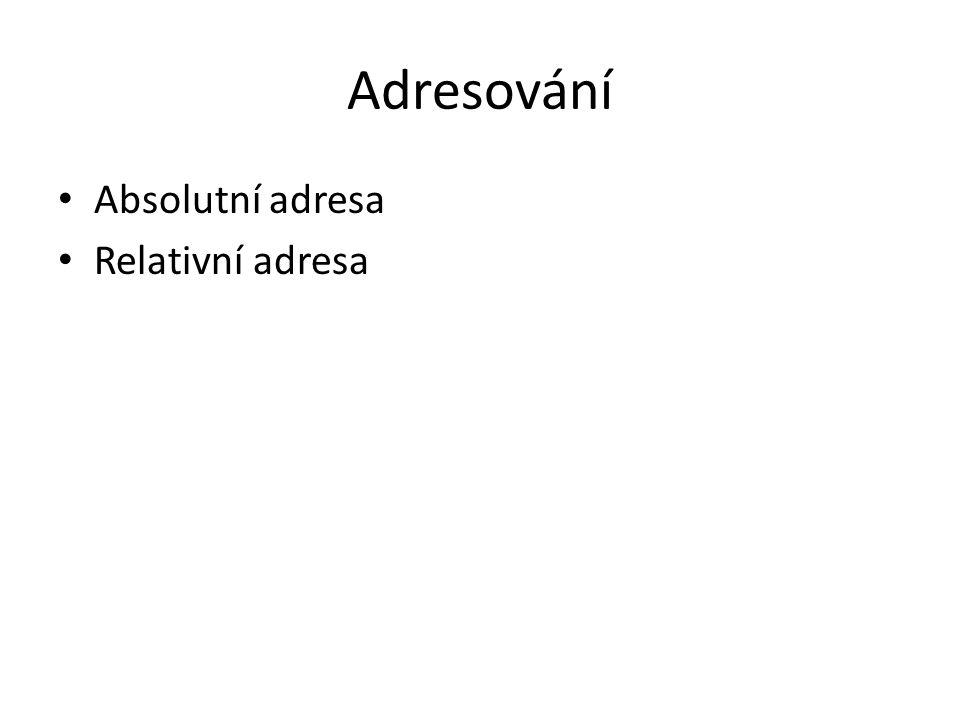 Adresování Absolutní adresa Relativní adresa