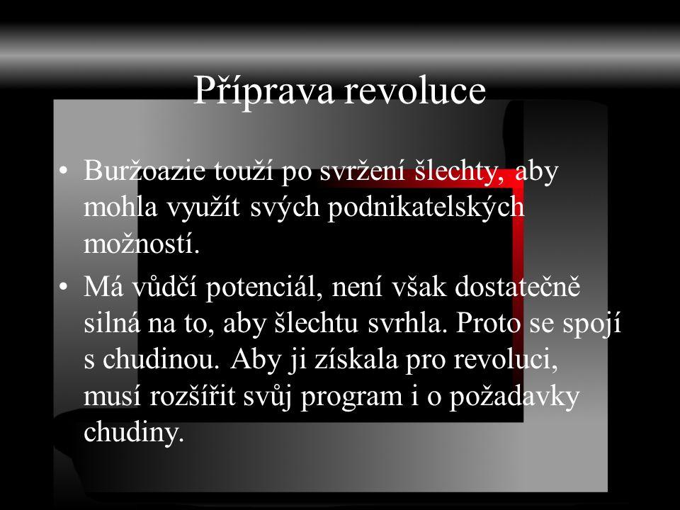 Příprava revoluce Buržoazie touží po svržení šlechty, aby mohla využít svých podnikatelských možností.