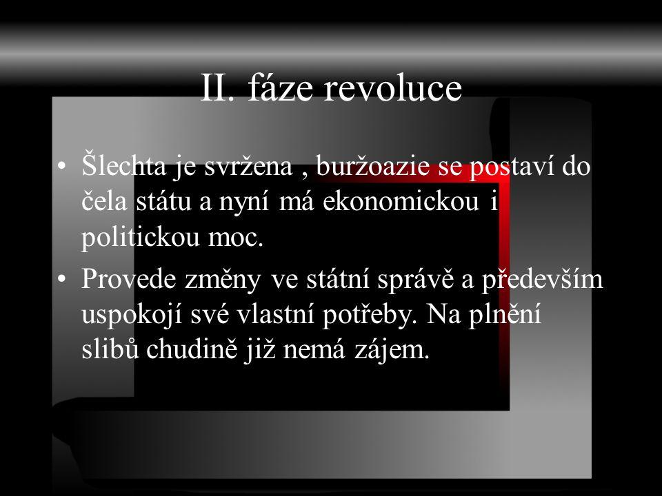 II. fáze revoluce Šlechta je svržena , buržoazie se postaví do čela státu a nyní má ekonomickou i politickou moc.