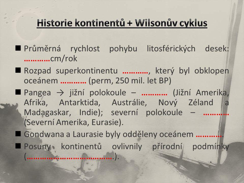 Historie kontinentů + Wilsonův cyklus