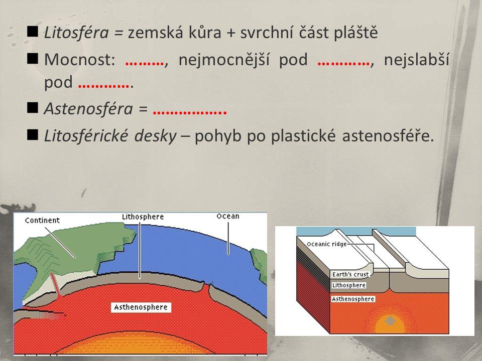 Litosféra = zemská kůra + svrchní část pláště