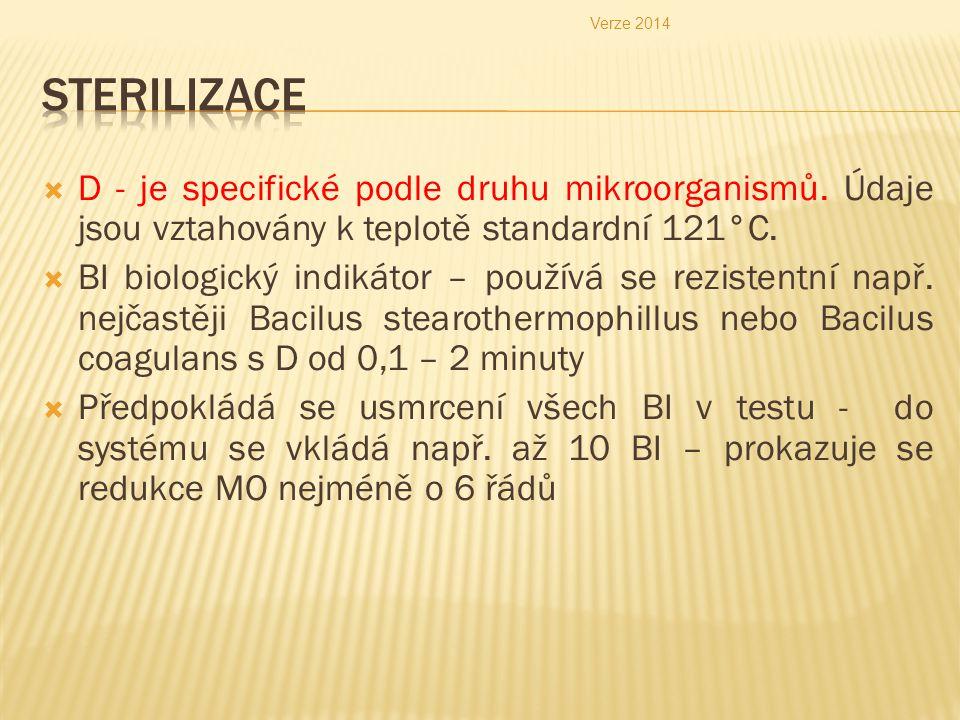 Verze 2014 Sterilizace. D - je specifické podle druhu mikroorganismů. Údaje jsou vztahovány k teplotě standardní 121°C.