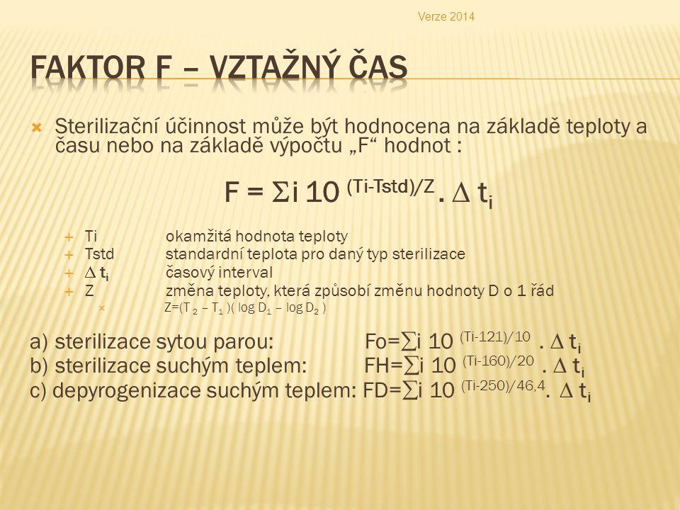 """Verze 2014 Faktor F – vztažný čas. Sterilizační účinnost může být hodnocena na základě teploty a času nebo na základě výpočtu """"F hodnot :"""