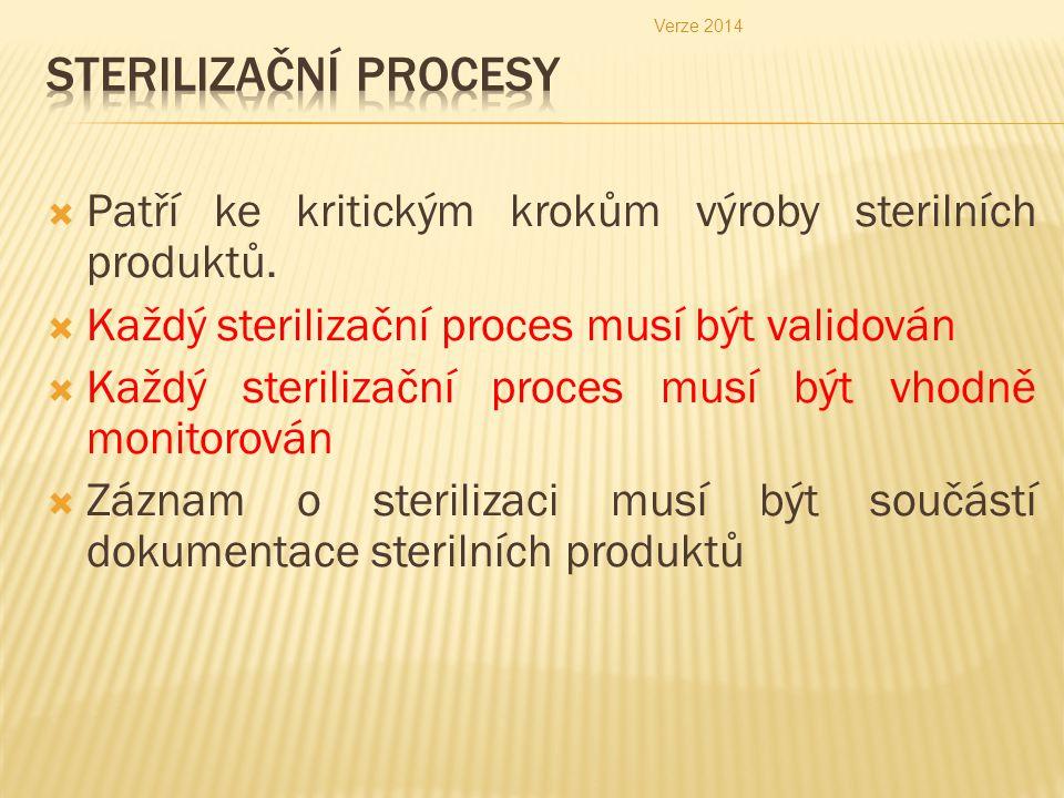 Verze 2014 Sterilizační procesy. Patří ke kritickým krokům výroby sterilních produktů. Každý sterilizační proces musí být validován.