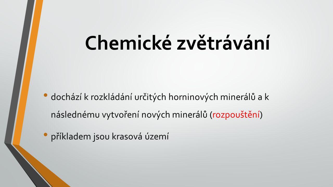 Chemické zvětrávání dochází k rozkládání určitých horninových minerálů a k následnému vytvoření nových minerálů (rozpouštění)