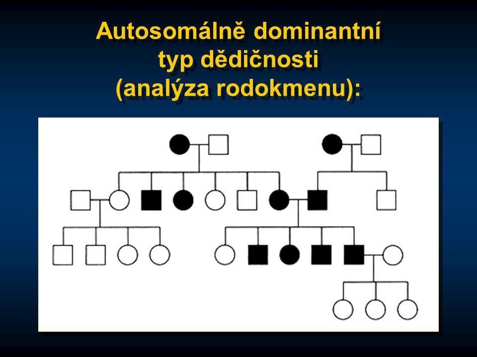 Autosomálně dominantní typ dědičnosti (analýza rodokmenu):