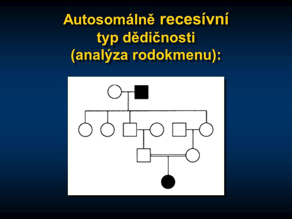 Autosomálně recesívní typ dědičnosti (analýza rodokmenu):