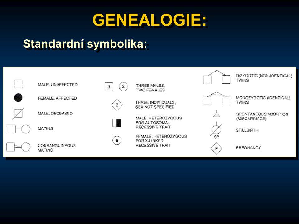 GENEALOGIE: Standardní symbolika: