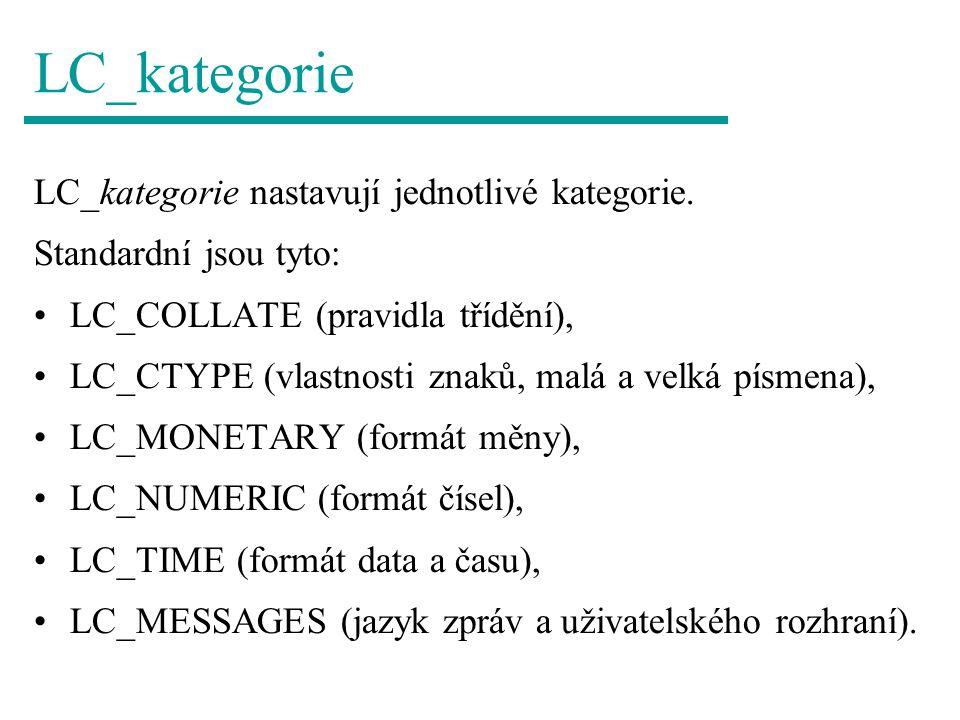 LC_kategorie LC_kategorie nastavují jednotlivé kategorie.