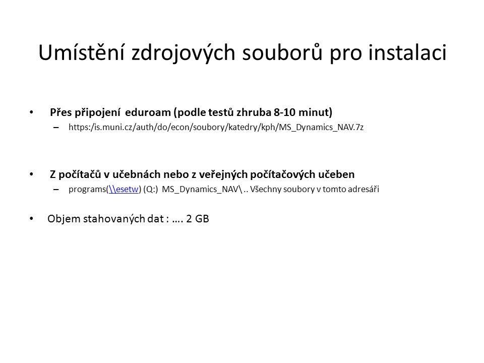 Umístění zdrojových souborů pro instalaci