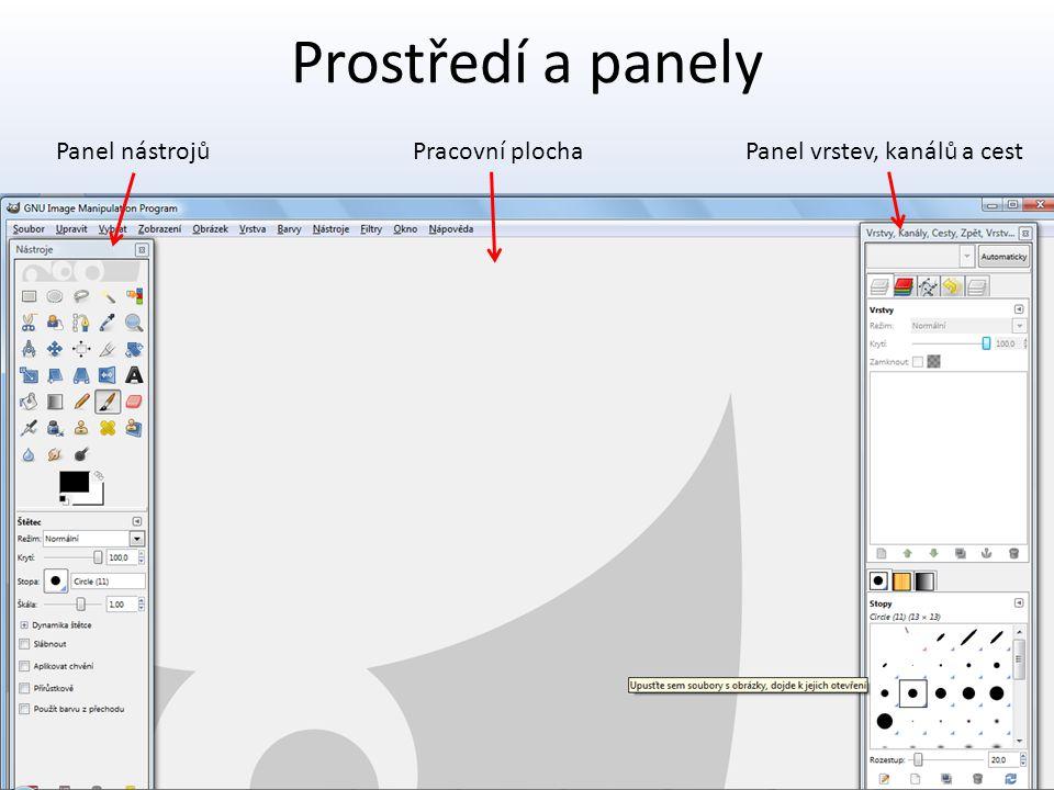 Prostředí a panely Panel nástrojů Pracovní plocha