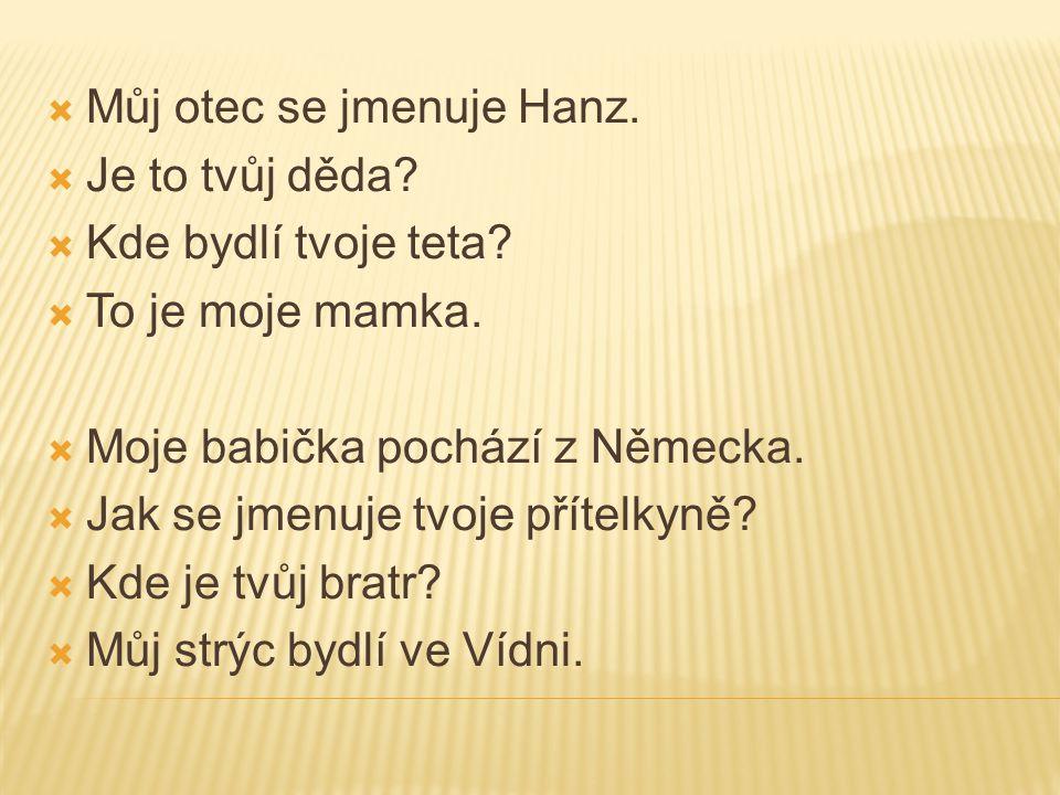Můj otec se jmenuje Hanz.