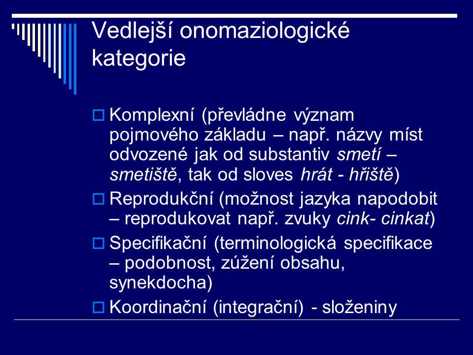 Vedlejší onomaziologické kategorie