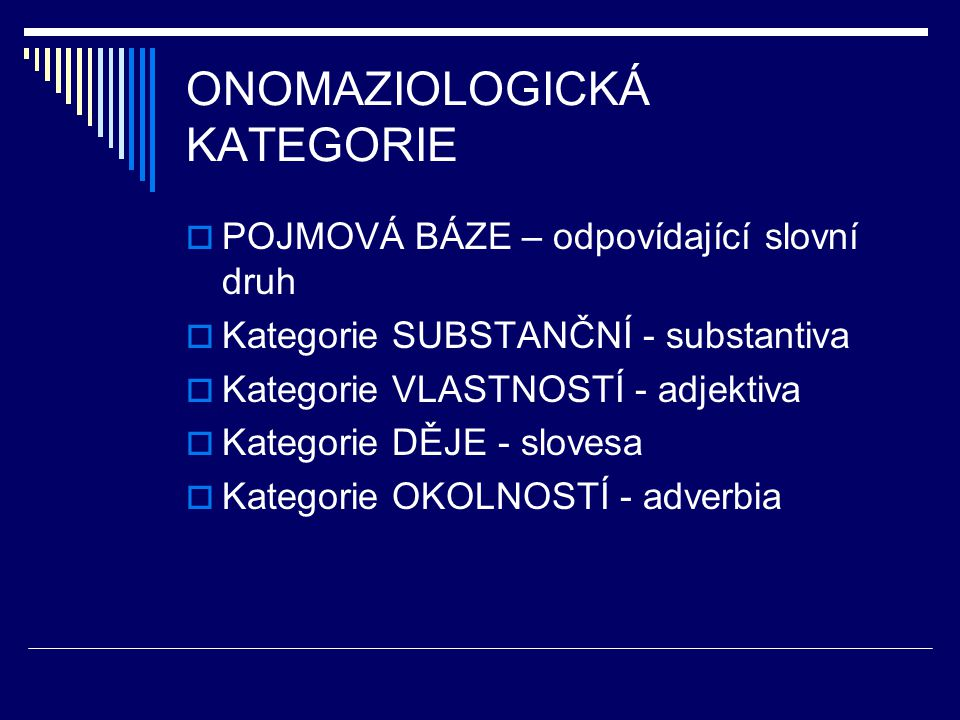 ONOMAZIOLOGICKÁ KATEGORIE