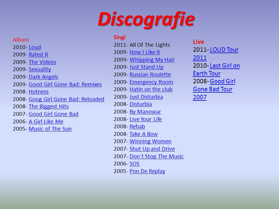 Discografie Live 2011- LOUD Tour 2011 2010- Last Girl on Earth Tour