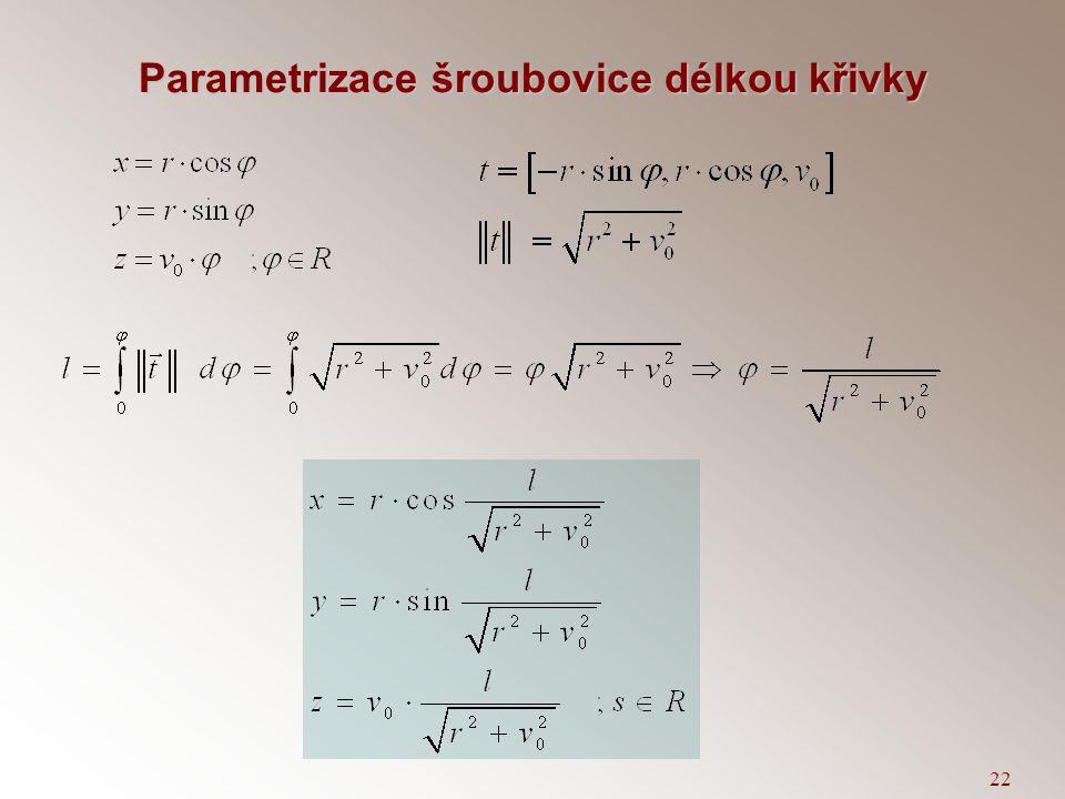 Parametrizace šroubovice délkou křivky