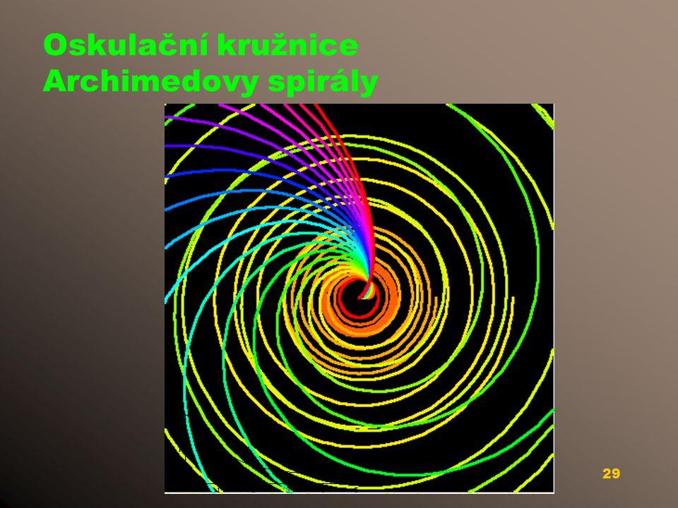 Oskulační kružnice Archimedovy spirály