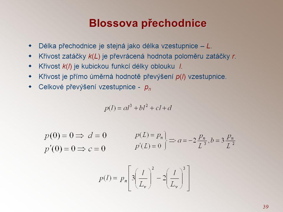 Blossova přechodnice Délka přechodnice je stejná jako délka vzestupnice – L. Křivost zatáčky k(L) je převrácená hodnota poloměru zatáčky r.