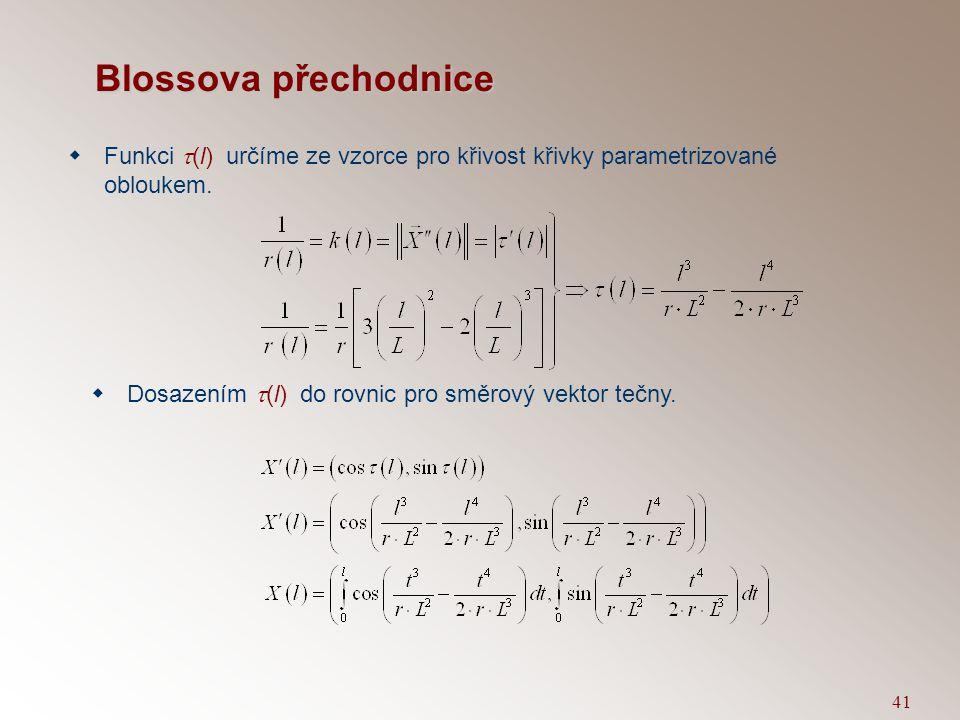 Blossova přechodnice Funkci t(l) určíme ze vzorce pro křivost křivky parametrizované obloukem.