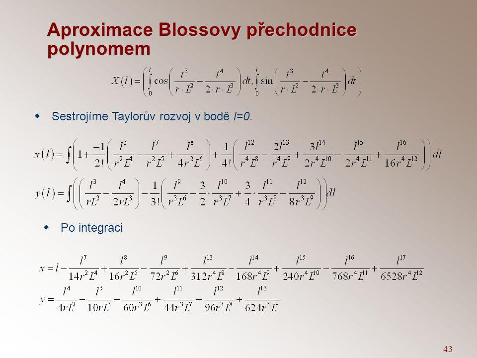 Aproximace Blossovy přechodnice polynomem