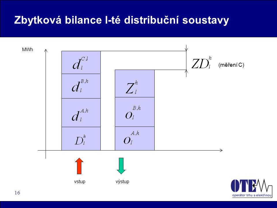 Zbytková bilance l-té distribuční soustavy