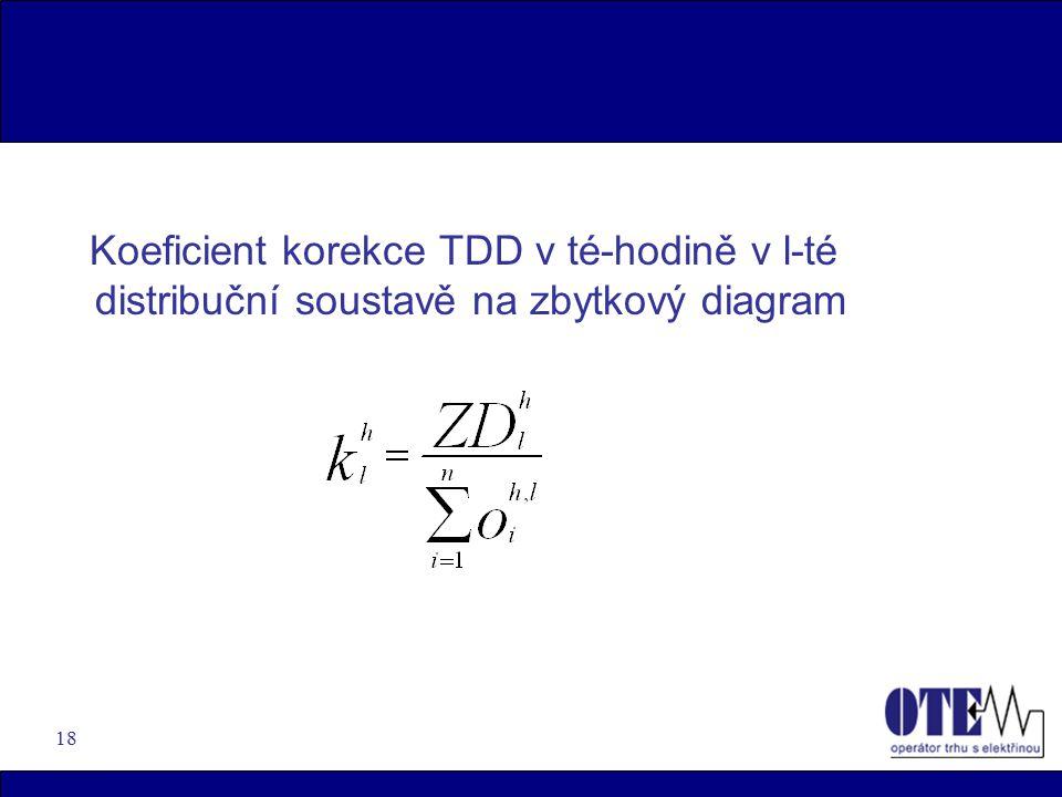 Koeficient korekce TDD v té-hodině v l-té distribuční soustavě na zbytkový diagram