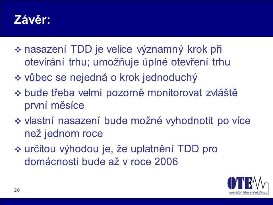 Závěr: nasazení TDD je velice významný krok při otevírání trhu; umožňuje úplné otevření trhu. vůbec se nejedná o krok jednoduchý.
