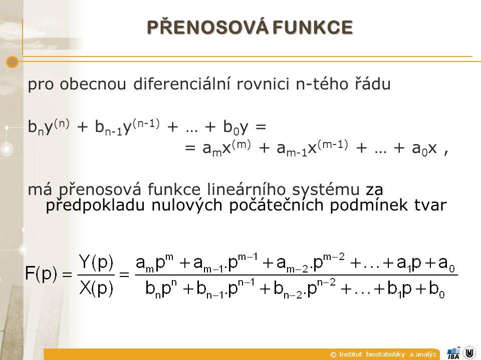 PŘENOSOVÁ FUNKCE pro obecnou diferenciální rovnici n-tého řádu