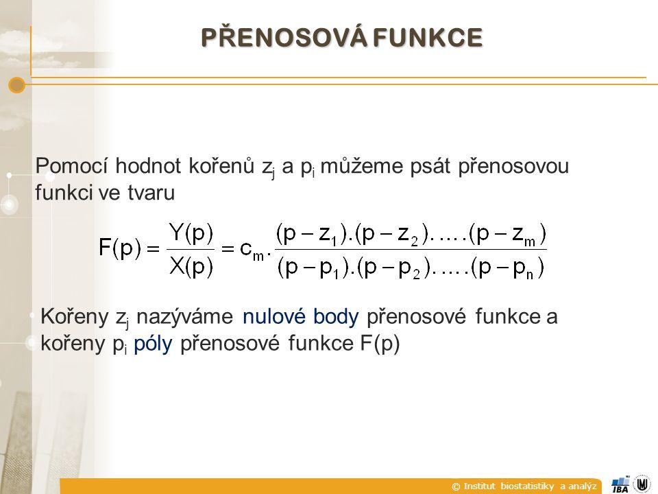 PŘENOSOVÁ FUNKCE Pomocí hodnot kořenů zj a pi můžeme psát přenosovou funkci ve tvaru.