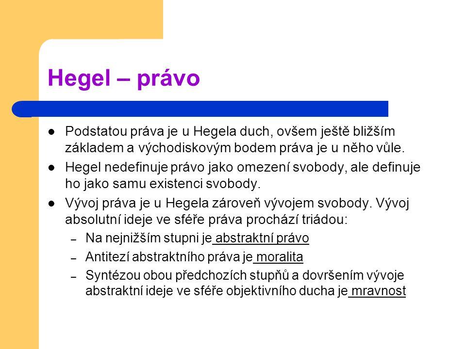 Hegel – právo Podstatou práva je u Hegela duch, ovšem ještě bližším základem a východiskovým bodem práva je u něho vůle.