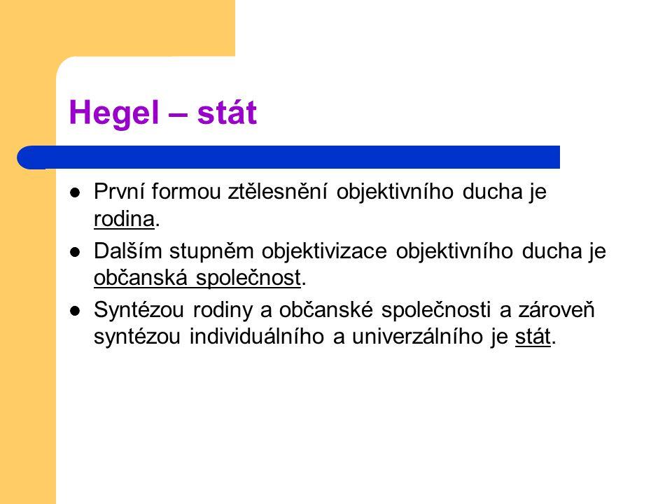 Hegel – stát První formou ztělesnění objektivního ducha je rodina.
