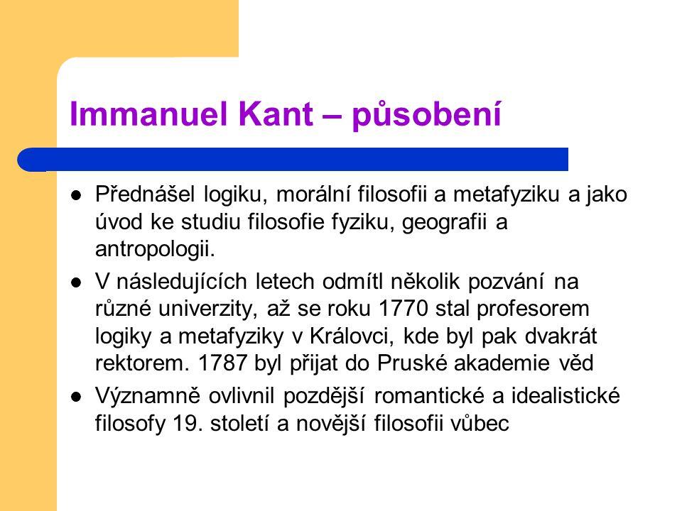 Immanuel Kant – působení