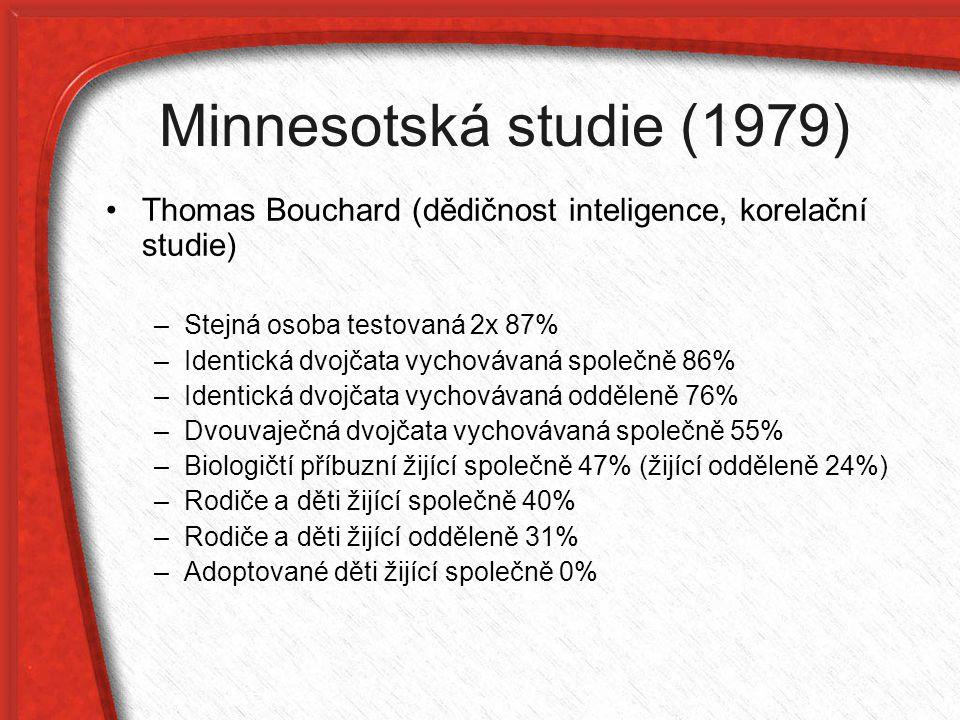 Minnesotská studie (1979) Thomas Bouchard (dědičnost inteligence, korelační studie) Stejná osoba testovaná 2x 87%