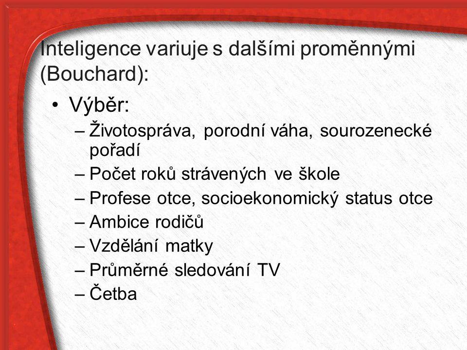Inteligence variuje s dalšími proměnnými (Bouchard):