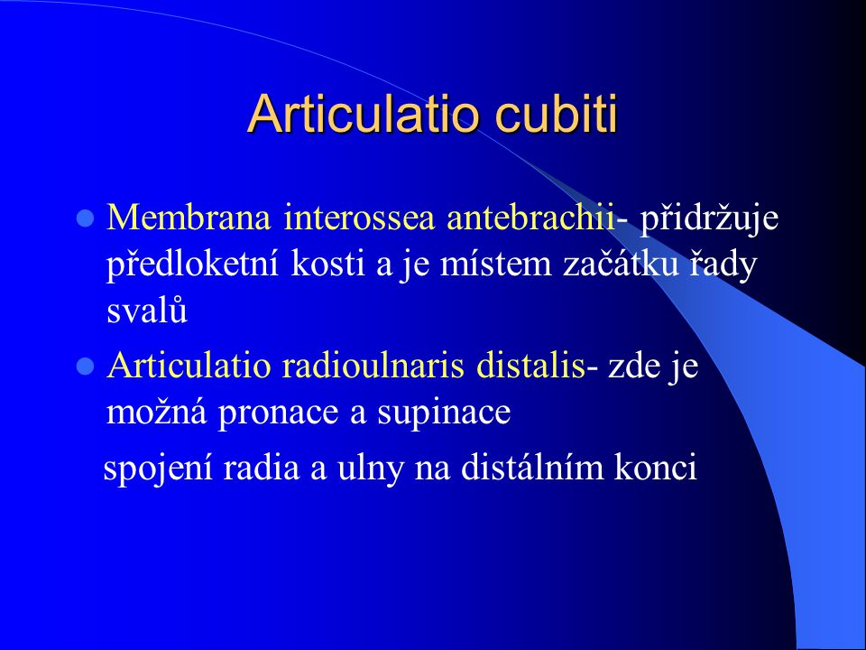 Articulatio cubiti Membrana interossea antebrachii- přidržuje předloketní kosti a je místem začátku řady svalů.