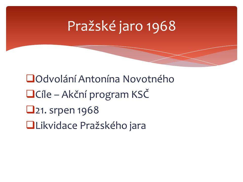Pražské jaro 1968 Odvolání Antonína Novotného Cíle – Akční program KSČ