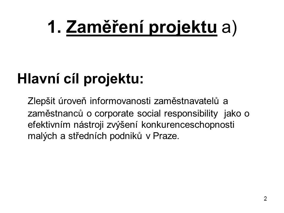 1. Zaměření projektu a) Hlavní cíl projektu: