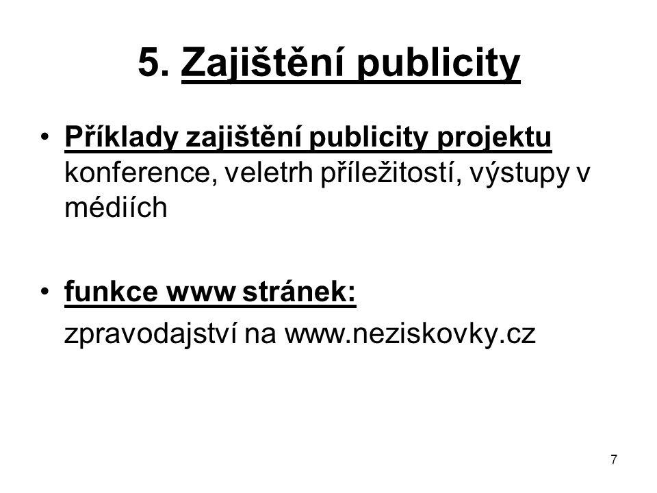 5. Zajištění publicity Příklady zajištění publicity projektu konference, veletrh příležitostí, výstupy v médiích.