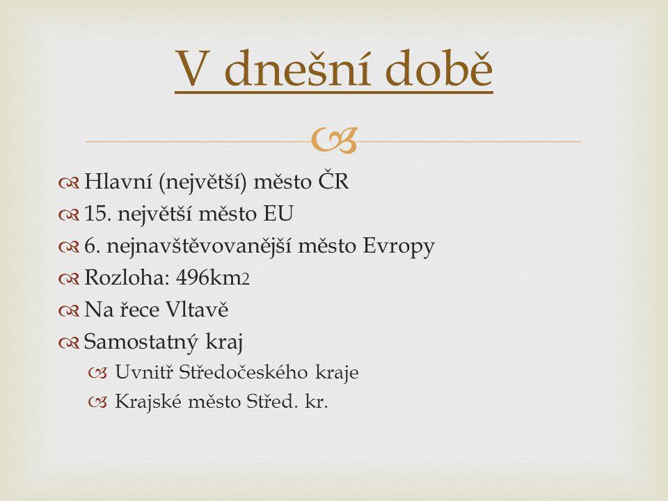 V dnešní době Hlavní (největší) město ČR 15. největší město EU
