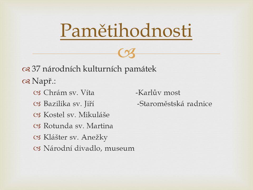 Pamětihodnosti 37 národních kulturních památek Např.:
